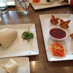 Steamed pork belly buns and chicken wontons