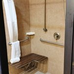 Roll in shower with bench and adjustable showerhead