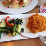 Steamed Vegetables and Sweet Potato Mashed Potatoes