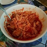 Gluten free pasta, excellent meatballs