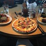 Black bean burger, pizza and chicken sandwich
