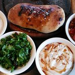 Bread with mini salads/dips