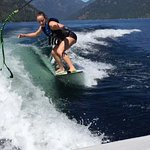 Surfing behind a V-Drive at Christina Lake Marina