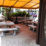The outdoor dining 'garden'... I've never seen anyone dine out here (probably humidity)