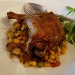 Duck Confit & Succotash crispy duck leg, corn, green peas, red pepper, toulouse sausage, bacon