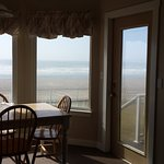 Dining nook overlooking the beach. That door doesn't open though.