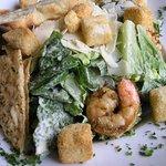 Caesar salad with grilled shrimp.