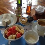 Breakfast at Hotel con Corazon. There is a lot of food.