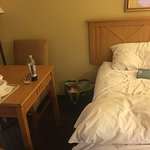Nice place to stay but rooms are much smaller than the hotel's photos show. Very cramped, but cl