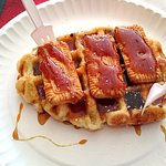 Waffles with caramel syrup and biscuits