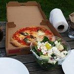 Yummy pizza and greek salad with potato salad!