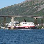 View from hotel of Hurtigruten leaving port