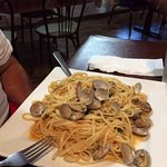 Clams over linguini, oil and garlic sauce