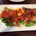 fresh calamari appetizer, with pieces of their awesome bread included..great red sauce too
