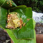 Lunch in a banana leaf at the waterfall. One of the best meals of the entire trip.