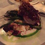 Brined Double-Cut Berkshire Pork Chop, Soft Polenta, Blackberry Gastrique, Rhubarb Jam, Apsaragu