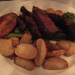 Grilled Hanger Steak, Guajillo Vinaigrette, Cilantro Purée, Roasted Fingerlings, Tomato, Asparag