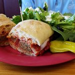 Meatball sandwich with side salad