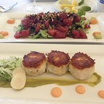 Poke and crab cake appetizers