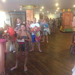 Queue at 0815 waiting for sun bed and pool area to open -  horrendous