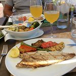 Grilled fish with potatoes, cauliflower, carrots
