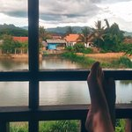 Shared balcony. Very quit. View over a fishing pond and distant mountains that border Luang Namt