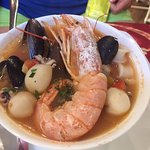 Seafood soup - yes, good on a hot summer's day!