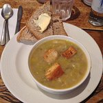 My favorite potato leek soup with their home- baked bread...