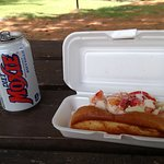 Lobster roll at the town beach picnic area on Highland Lake
