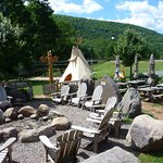 Teepee next to the outdoor dining area