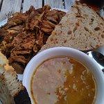 Korean Pork Sandwich & Cabbage Bacon soup. Delicious soup & sandwich!
