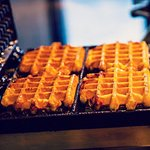 Liège waffle with caramelized pearl sugar. In Belgium we take it to go without any toppings.