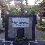 This is the welcome name board of Puri Dewa Bharata and outdoor swimming pool