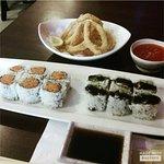 Spicy Tuna Roll, Eel Avocado Roll, and Fresh Calamari