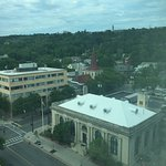 Looking towards Cornell and the Ithaca City Hall in the foreground