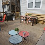 Deck/patio at back of hostel off 1st floor kitchen