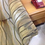 The worn out condition of the sofa. The sofa is torn.