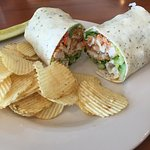 Chicken salad wrap served with chips They always have chips with meals in Maine