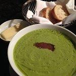 Asparagus soup with walnut pesto