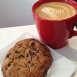 Latte and Chocolate Chip Cookie