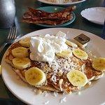 Banana coconut macadamia pancakes and Loco moco breakfast...