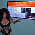Typical theme night events listed on monitor (in lobby) & one of 7 different themes