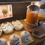 Fresh juice and homemade jam at the breakfast buffet