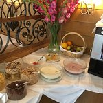 Fresh fuite, cereal and yogurt selection at the breakfast buffet