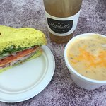 Veggie sandwich with ham, vanilla Italian soda, and potato soup. Yum