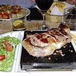 Steak on the heated stone