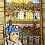 Lively and colorful local quilt in exhibit