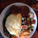 My veggie egg white omelet, homefries, biscuit and veggie sausage patties. YUM!