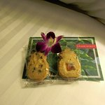 Cookies, orchid and postcard left by the turn-down service every night.