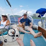 Enjoying a great day of sailing with Harry and Indy